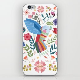 Folk Art Inspired Hummingbird In A Burst Of Springtime Blossoms iPhone Skin