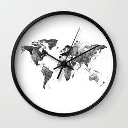 World map, Black and white world map Wall Clock