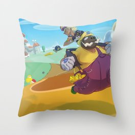 The Junkboys Take the Mushroom Kingdom Throw Pillow