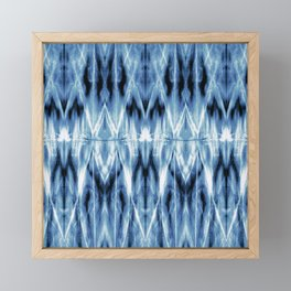 Blue Satin Shibori Argyle Framed Mini Art Print