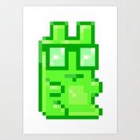 Giant Pixel Gummy Bear Art Print