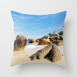 Lighthouse on Brittany Beach Throw Pillow