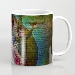 Mixed Media Ephemera Altered Art Woman Flag Coffee Mug