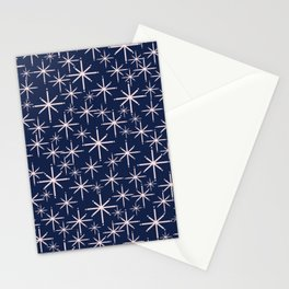 Starry Night - Midcentury Mod Retro Starbursts in Light Pink and Navy Blue Stationery Cards