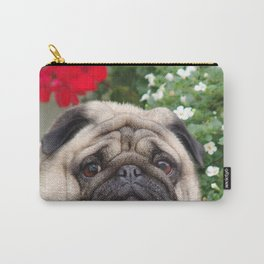 Pug with red flowers,animal print Carry-All Pouch