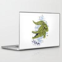 crocodile Laptop & iPad Skins featuring Crocodile by Sam Jones Illustration