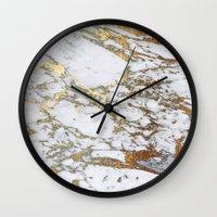 jenna kutcher Wall Clocks featuring Gold Marble by Jenna Davis Designs