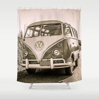 surfer Shower Curtains featuring Surfer Van by Edward M. Fielding