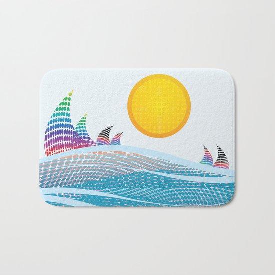 Sun and sea in CMYK Bath Mat