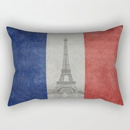 Flag of France with Eiffel Tower Rectangular Pillow