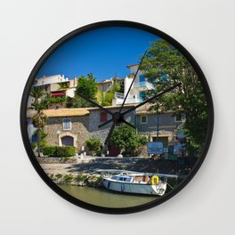 old houses on the canal du midi, france 3 Wall Clock