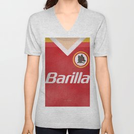 Vintage Serie A shirt, classic football jersey, retro football team kit, soccer Illustration AS Roma Unisex V-Neck
