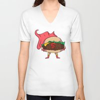 hamburger V-neck T-shirts featuring Hamburger Heroes by Chris Piascik