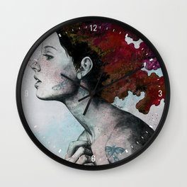 Moral Red Eclipse (colorful hair woman with moths tattoos) Wall Clock