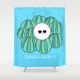 Cute Bichon frise dog with watermelon background. character design Shower Curtain