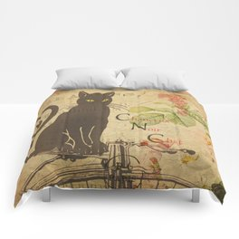 Chat Noir - Black Cat French Collage Comforters