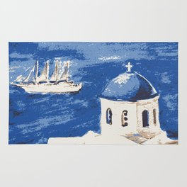 Santorini Greece Rug