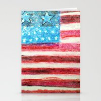 american flag Stationery Cards featuring American Flag by Brontosaurus