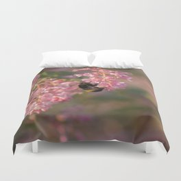 bee on pink flowers Duvet Cover