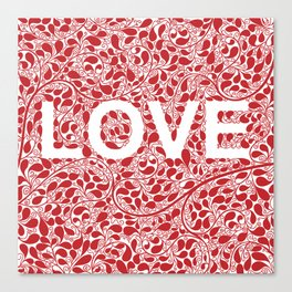 LOVE, floral typography Canvas Print