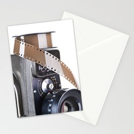 Retro mechanical movie camera and film Stationery Cards