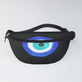 Single Evil Eye Amulet Talisman Ojo Nazar - on black Fanny Pack
