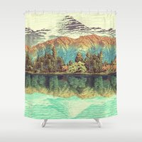 orange Shower Curtains featuring The Unknown Hills in Kamakura by Kijiermono
