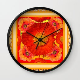 ORNATE YELLOW-RED POPPIES GARDEN  YELLOW ART Wall Clock