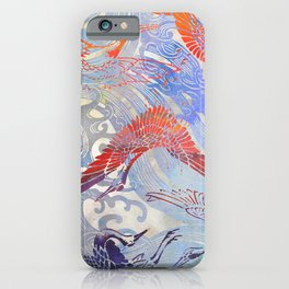 Waves and Cranes Chinoiserie Inspired Wall Art | Japanese Katagami Stencil Design in Red, Blue, Gray iPhone Case