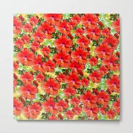 Hibiscus Flower - Red Metal Print