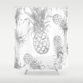 grayscale pineapple pattern, vintage tropical desing Shower Curtain