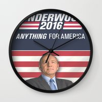 house of cards Wall Clocks featuring House of Cards / Campaign Poster II by Earl of Grey
