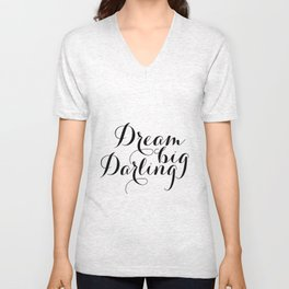 """GIFT FOR HER Chic Girly Striped Typography Inspirational Art Print """"Dream Big Darling"""" Unisex V-Neck"""
