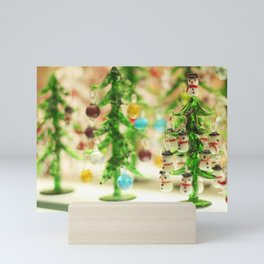 Snowmen Christmas trees Mini Art Print