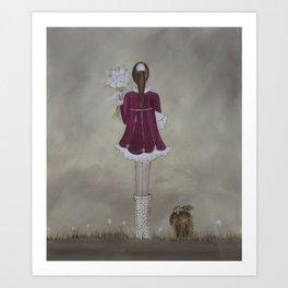 girl and dog Art Print