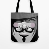 vendetta Tote Bags featuring Vendetta by BiggStankDogg