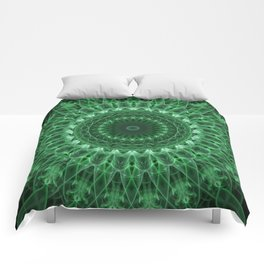 Detailed mandala in light and dark green tones Comforters