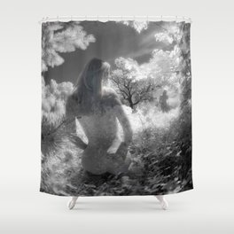 0250-GI BW Infrared Fine Art Nude Seeing Into Oneself Shower Curtain