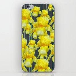 CHARCOAL GREY YELLOW IRIS GARDEN ABSTRACT iPhone Skin