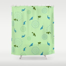Green Orca and Dolphin Shower Curtain