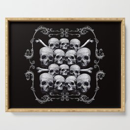 Skulls and Filigree - Black and White Serving Tray
