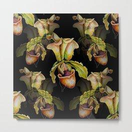 Paphiopedilum Orchids, Lady's Slipper Watercolor Metal Print