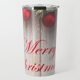 Merry Christmas Garland, Berries & Ornaments on Weathered Wood Travel Mug