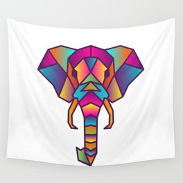 Elephant   Geometric Colorful Low Poly Animal Set Wall Tapestry