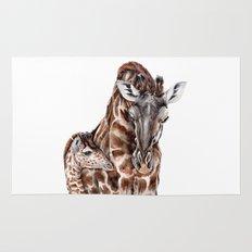 Giraffe with Baby Giraffe Rug