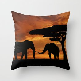 African elephants silhouettes in sunset Throw Pillow