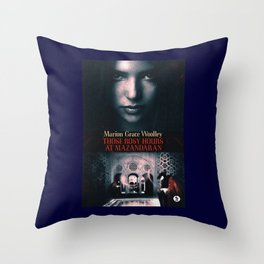 Those Rosy Hours Tote - blue Throw Pillow