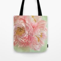 peonies Tote Bags featuring Peonies by Lizzy Pe