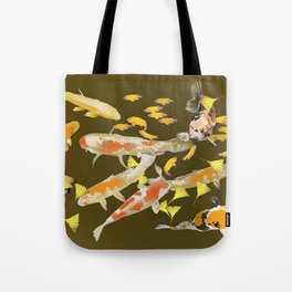 Fall Koi and Golden Ginkgo Leaves Tote Bag