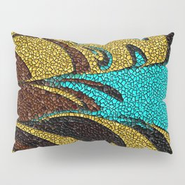 Aqua, Brown, and Gold Mosaic Pillow Sham